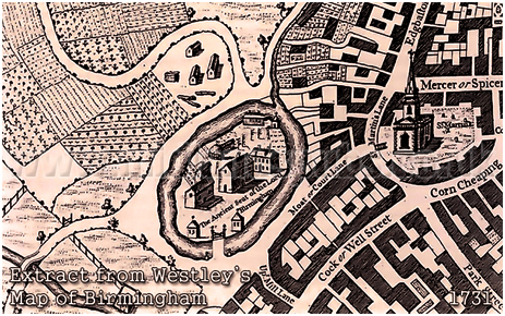 1731 Map of Birmingham showing Manor House and Moat