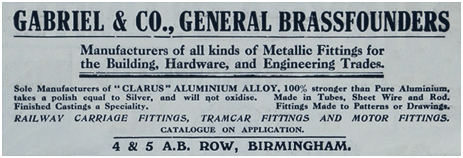 Birmingham : Advertisement for Gabriel & Company Ltd. Brass and Steel Founders of A. B. Row [1913]