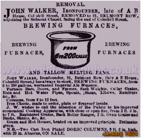 Birmingham : Notice of John Walker moving from A. B. Row to Belmont Row [1854]