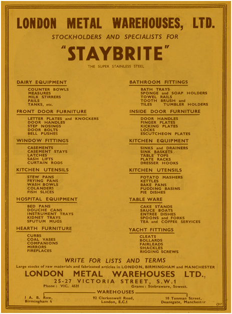 Birmingham : Advertisement for Staybrite Stainless Steel at A. B. Row [1938]