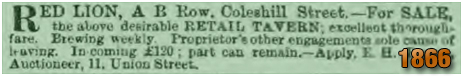 Birmingham : Sale Notice for the Red Lion on A. B. Row and Coleshill Street [November 1866]
