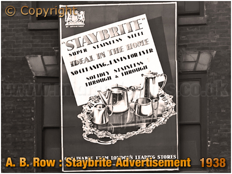 Birmingham : Advertisement for Staybrite Superior Stainless Steel at London Metal Warehouses Ltd. of A. B. Row [1938]