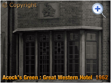 Birmingham : Butler's Crest and Windows of the Great Western Hotel at Acock's Green [1962]