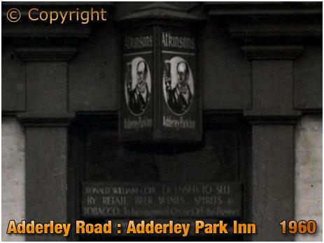 Birmingham : Licensee Plate of the Adderley Park Inn on Adderley Road at Saltley [1960]