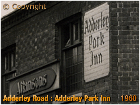Birmingham : Wall Sign of the Adderley Park Inn on Adderley Road at Saltley [1960]