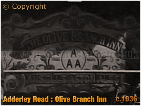 Birmingham : Etched Glass Window of the Olive Branch Inn on Adderley Road at Saltley [c.1936]