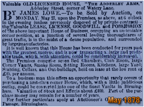 Birmingham : Advertisement for an auction of the Adderley Arms on the corner of Adderley Street and Watery Lane in Bordesley [1878]