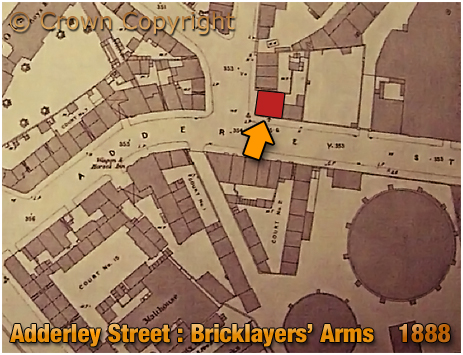 Birmingham : Map showing the location of the Bricklayers' Arms on the corner of Adderley Street and Liverpool Street in Bordesley [1888]