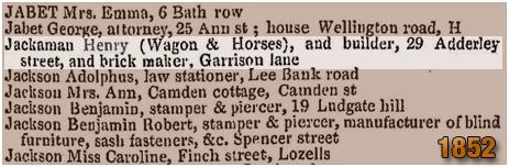 Birmingham : Henry Jackaman in Slater's Directory [1852]