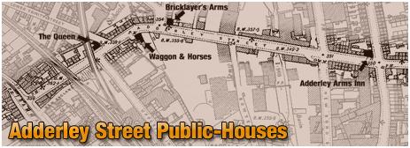 Birmingham : Map showing locations of public-houses on Adderley Street in Bordesley [1902]