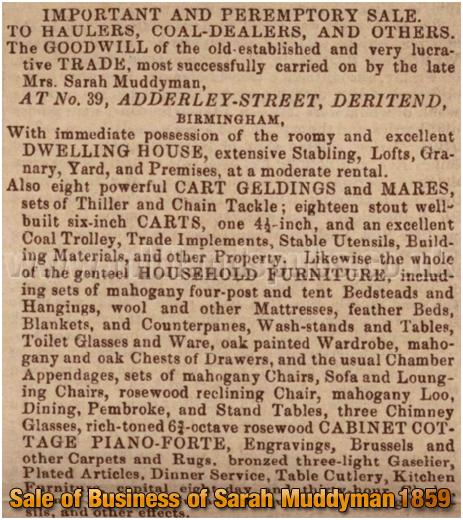 Birmingham : Sale of Business Interests of Sarah Muddyman of Adderley Street at Bordesley [1859]
