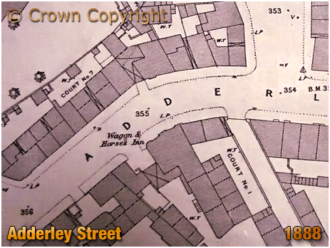 Birmingham : Map showing the Wagon and Horses on Adderley Street in Bordesley [1888]