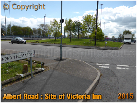 Site of the Victoria Inn on the corner of Albert Road and Upper Thomas Street in Aston [2015]