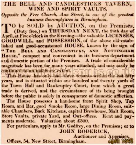 Birmingham : Advertisement for the Bell and Candlesticks on Ann Street [c.1845]
