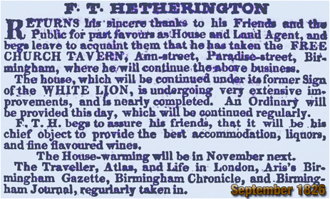 Birmingham : Free Church Tavern reverting to the White Lion on Ann Street in Birmingham [1826]