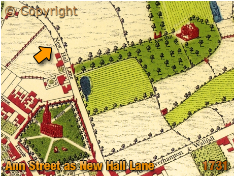 Map Extract showing Newhall Lane [From William Westley's 1731 Map of Birmingham]