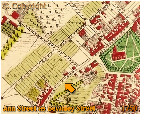 Map Extract showing Bewdley Street [From Samuel Bradford's 1750 Map of Birmingham]
