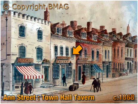 Birmingham : Watercolour Painting of Ann Street featuring the Town Hall Tavern by Paul Braddon [c.1868]