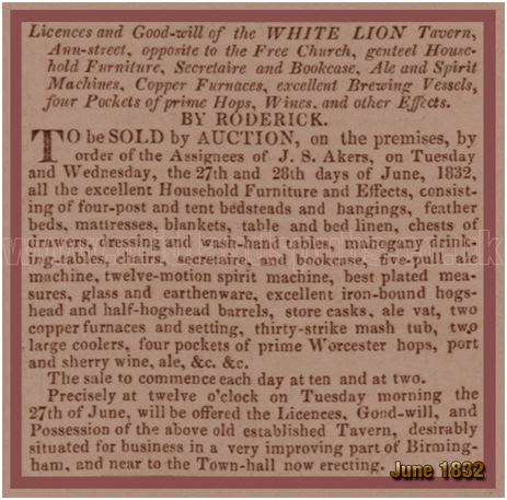 Birmingham : Sale Notice for the White Lion on Ann Street [1832]