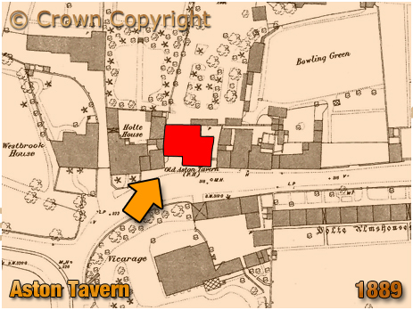 Map showing the location of the Aston Tavern at Aston Village in Birmingham [1889]