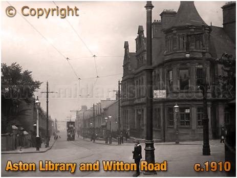 Birmingham : Aston Library and Witton Road [c.1910]