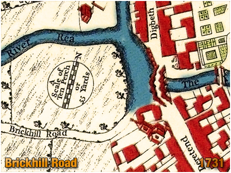 Birmingham : Brickhill Road shown on Westley's Plan [1731]