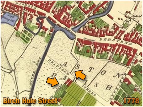 Birmingham : Birch Hole Street shown on Thomas Hanson's Plan [1778]