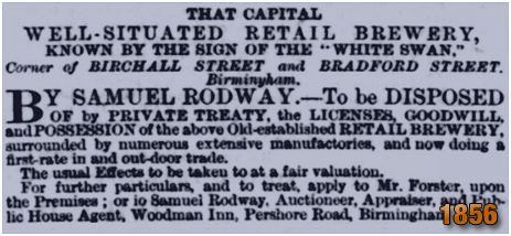 Birmingham : Advertisement for the White Swan Retail Brewery on the corner of Birchall Street and Bradford Street in Deritend [1856]