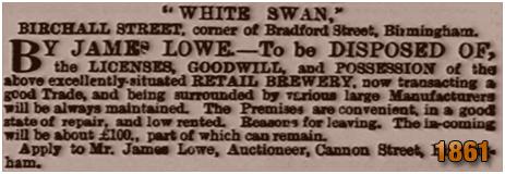 Birmingham : Advertisement for the White Swan on the corner of Birchall Street and Bradford Street in Deritend [1861]