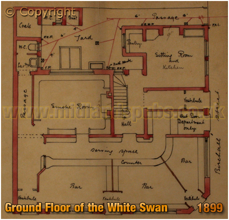 Birmingham : Ground Floor Plan of the proposed White Swan on the corner of Birchall Street and Bradford Street in Deritend [1899]
