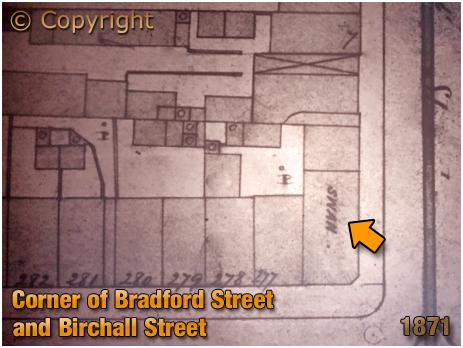 Birmingham : Plan showing the Swan Inn on the corner of Birchall Street and Bradford Street in Deritend [1871]