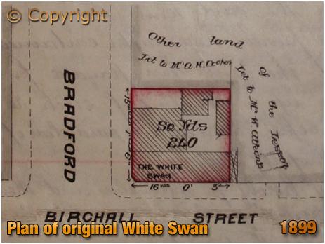 Birmingham : Plan showing the original White Swan Inn on the corner of Birchall Street and Bradford Street in Deritend [1899]