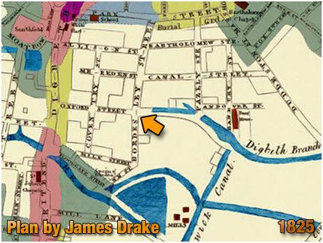 Birmingham : Plan of Birmingham by James Drake showing Bordesley Street [1825]