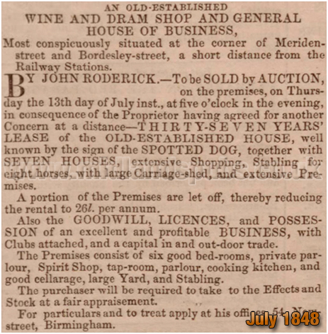 Birmingham : Auction of remaining lease of the Spotted Dog on the corner of Bordesley Street and Meriden Street [1848]
