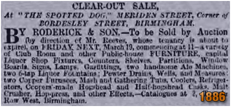 Birmingham : Clearout Sale by Thomas Reeves at the Spotted Dog [1886]