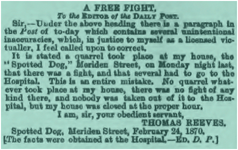 Birmingham : Fake News at The Spotted Dog [1870]
