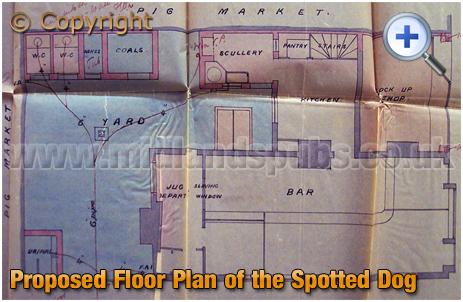 Birmingham : Floor Plan of the Spotted Dog on the corner of Bordesley Street and Meriden Street in Digbeth [1895]