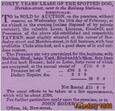 Birmingham : Auction of the lease for the Spotted Dog on the corner of Bordesley Street and Meriden Street [1841]