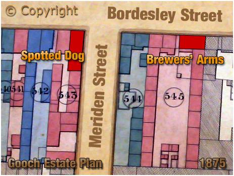 Birmingham : Gooch Estate Plan showing the Spotted Dog on the corner of Bordesley Street and Meriden Street [1875]