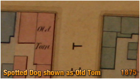 Birmingham : The Spotted Dog shown as Old Tom on a Gooch Estate plan [1875]