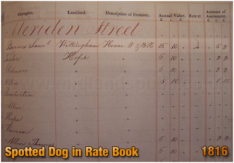 Birmingham : The Spotted Dog in Rate Book of Birmingham [1816]