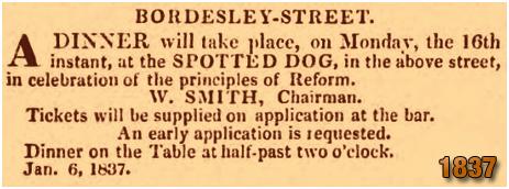 Birmingham : Reform Dinner at the Spotted Dog in Bordesley Street [1837]