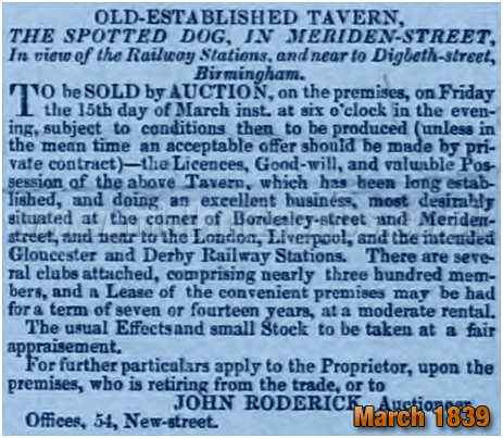 Birmingham : Sale of the Spotted Dog on the corner of Bordesley Street and Meriden Street [1839]