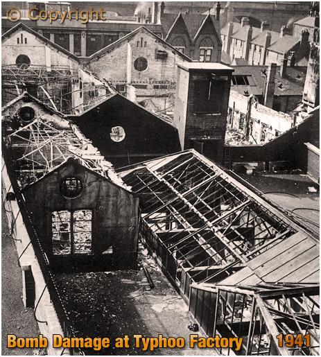 Birmingham : Bomb Damage at the Typhoo Factory in Bordesley Street [1941] Photo by F. Parkin