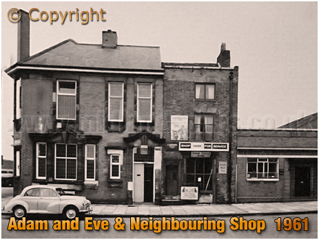 Birmingham : Adam and Eve and Neighbouring Shop in Bradford Street at Bordesley [1961]