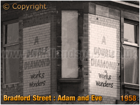 Birmingham : Advertising for Ind Coope Double Diamond on the Adam and Eve in Bradford Street at Bordesley [1958]