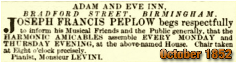 Birmingham : Advertisement for Harmonic Amicables at the Adam and Eve in Bradford Street at Bordesley [1852]