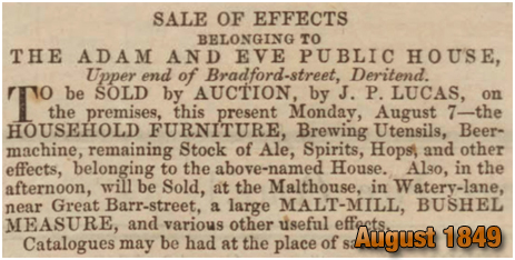 Birmingham : Sale of effects belonging to the Adam and Eve in Bradford Street at Bordesley [1849]