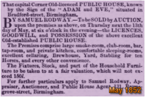 Birmingham : Advertisement for an auction of the Adam and Eve in Bradford Street at Bordesley [1852]
