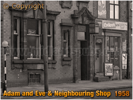 Birmingham : Adam and Eve and Neighbouring Shop in Bradford Street at Bordesley [1958]